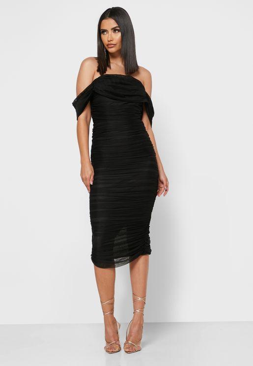 Ruched Off-Shoulder Dress