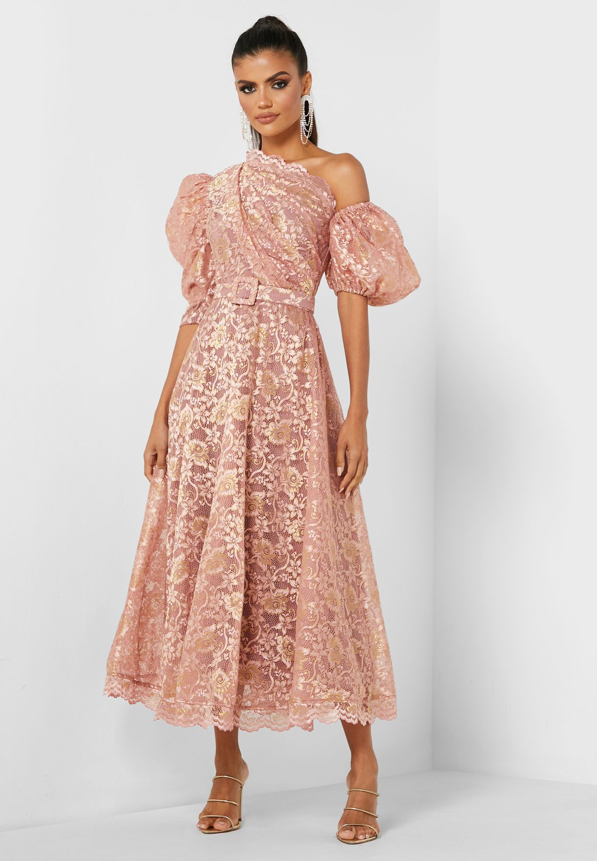 Puff Sleeves Lace Dress