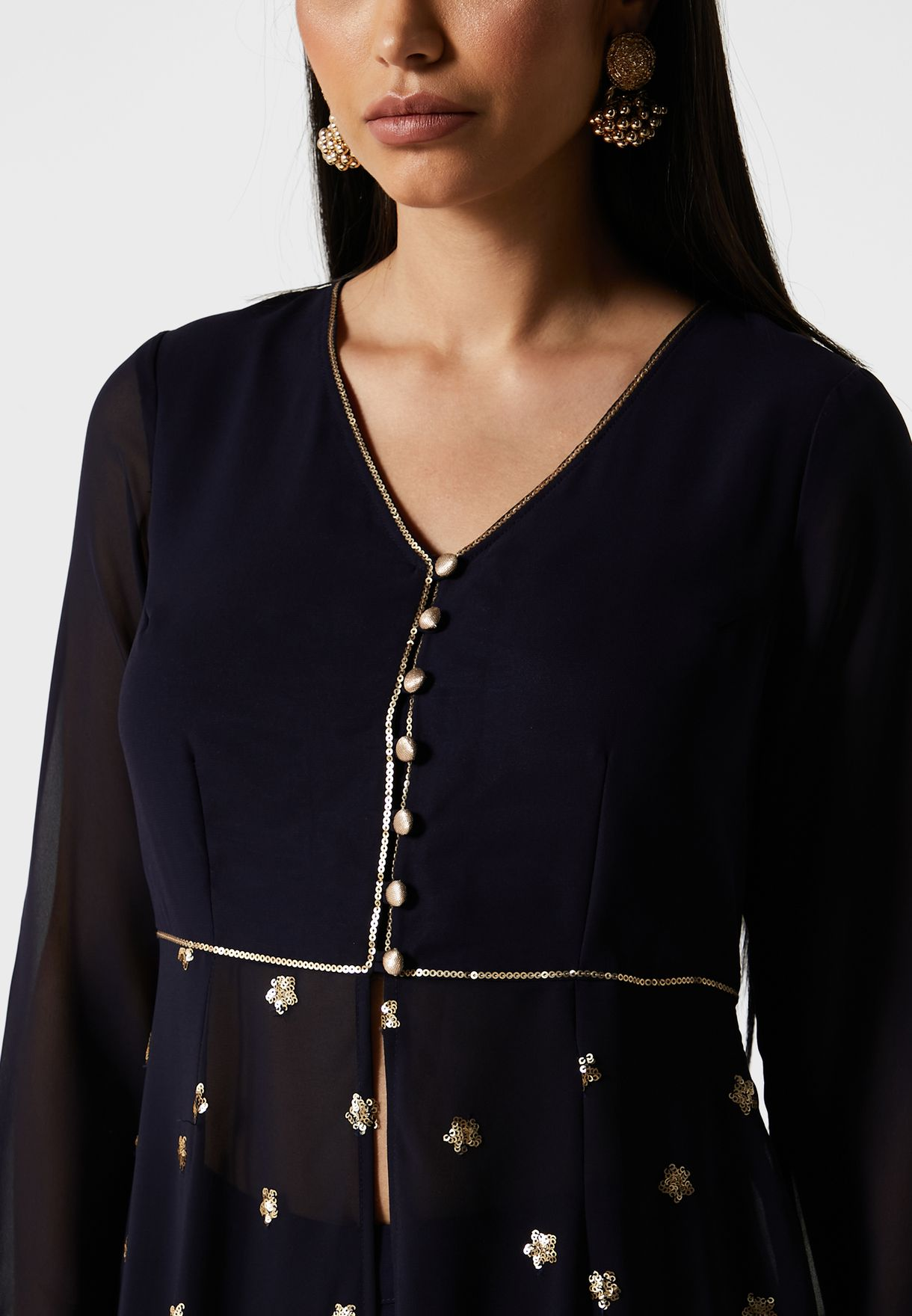 Navy Embroidered Flared Maxi Tunic
