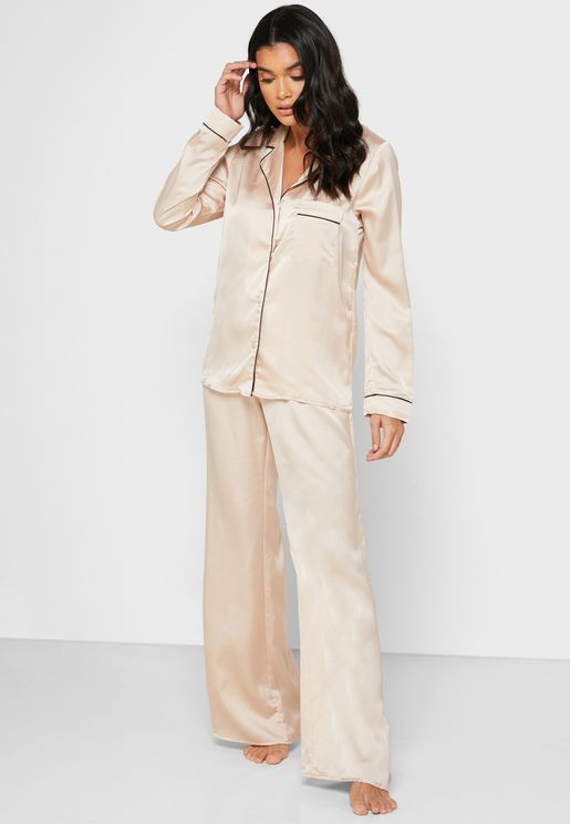 Embroidered Satin Pyjama Shirt Set