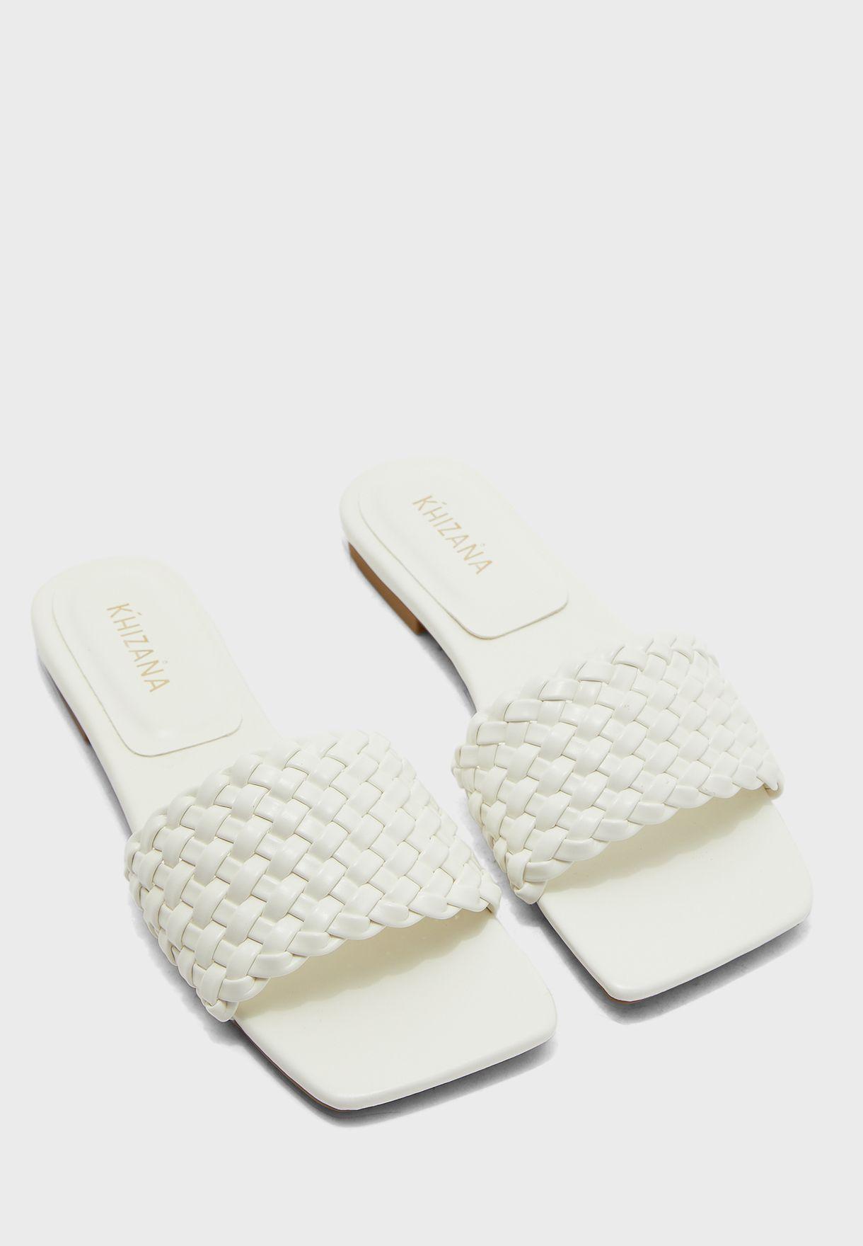 Weave Square Toe Flat Sandals