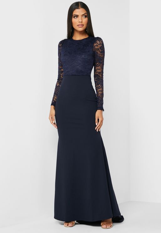 Lace Detail Open Back Maxi Dress