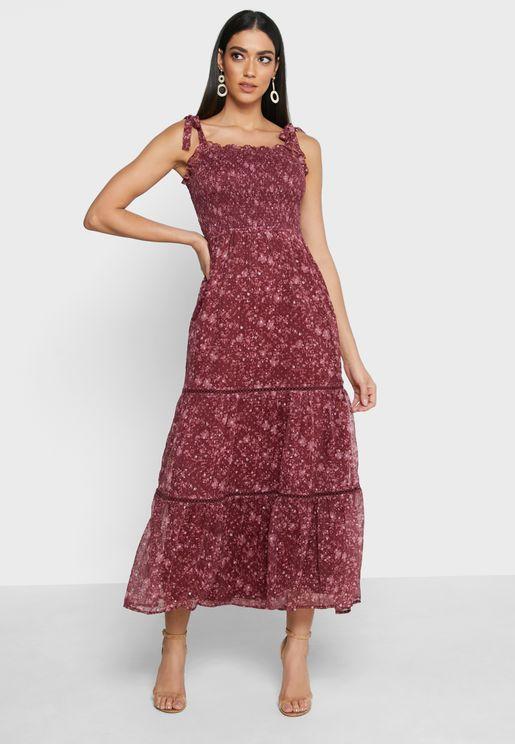 فستان ماكسي بطباعة زهور