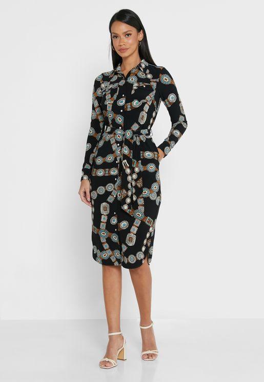 Doane Floral Print Shirt Dress