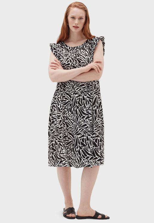 Cap Sleeves Printed Dress