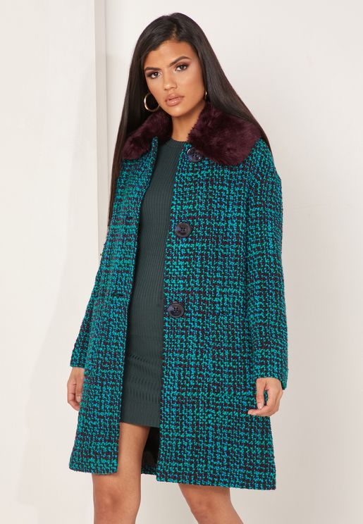 Aster Tweed Faux Fur Collar Coat