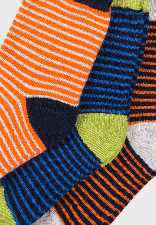 Infant 3 Pack Striped Socks