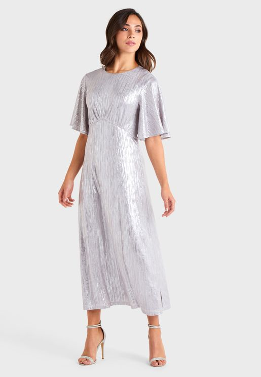 Angel Sleeve Shimmer Dress