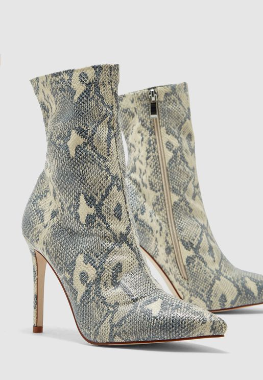 Sock Ankle Boots In Snake Print