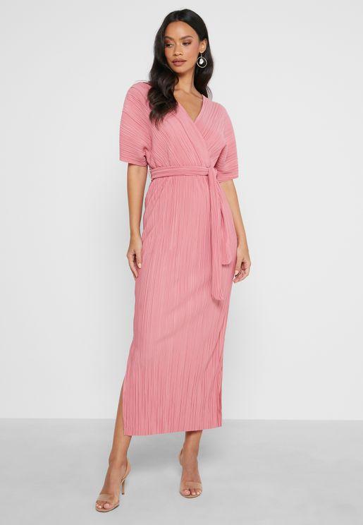 Split Detail Maxi Wrap Dress