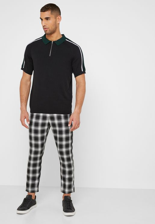 Check Print  Half Elastic Trousers