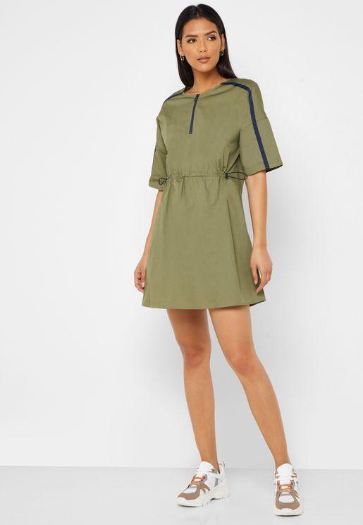 Zip Detail Contrast Trim Dress