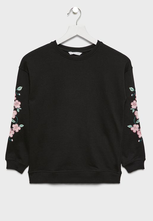 Kids Floral Sleeve Sweatshirt