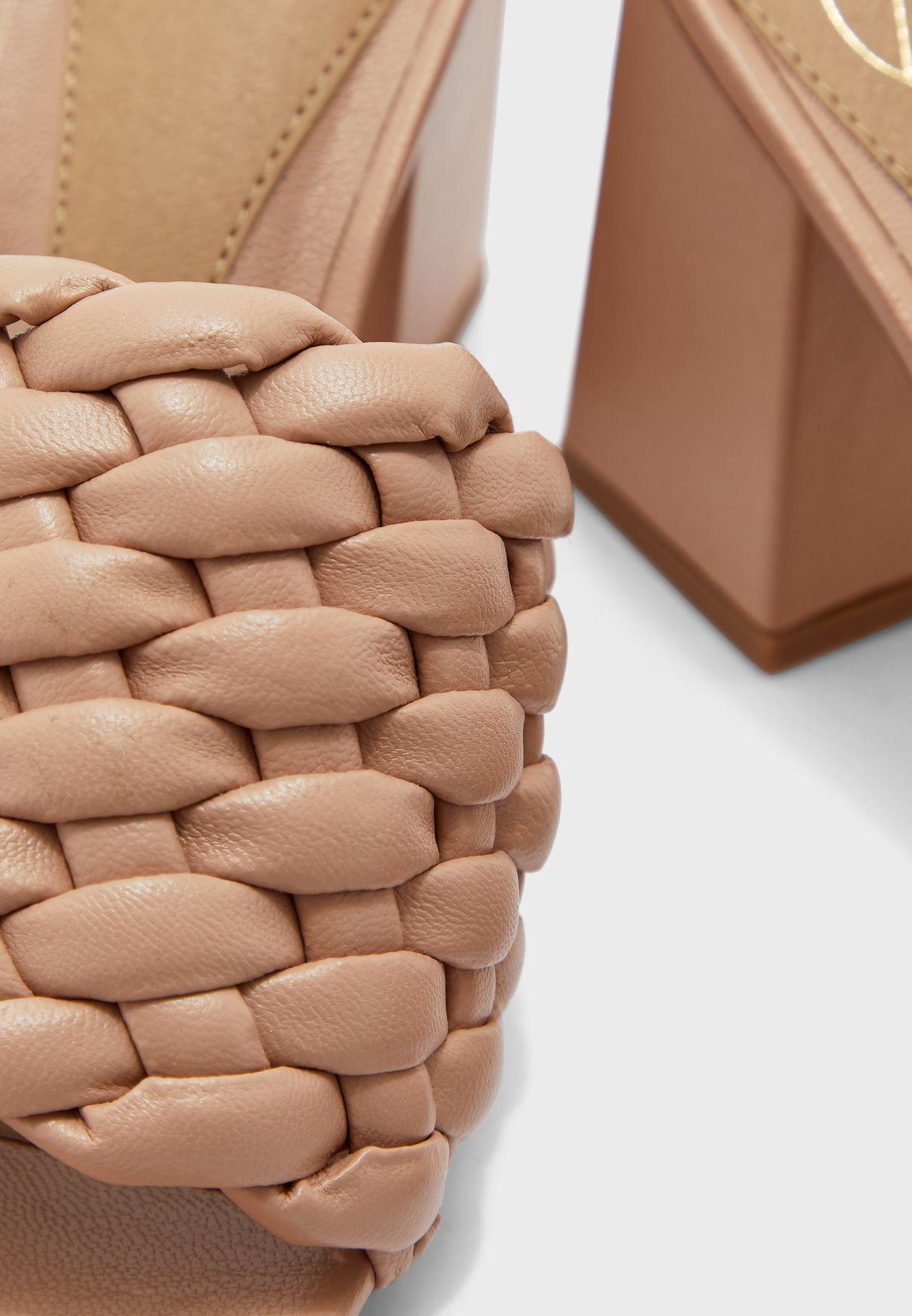 Braided Block Heel Mule Sandal