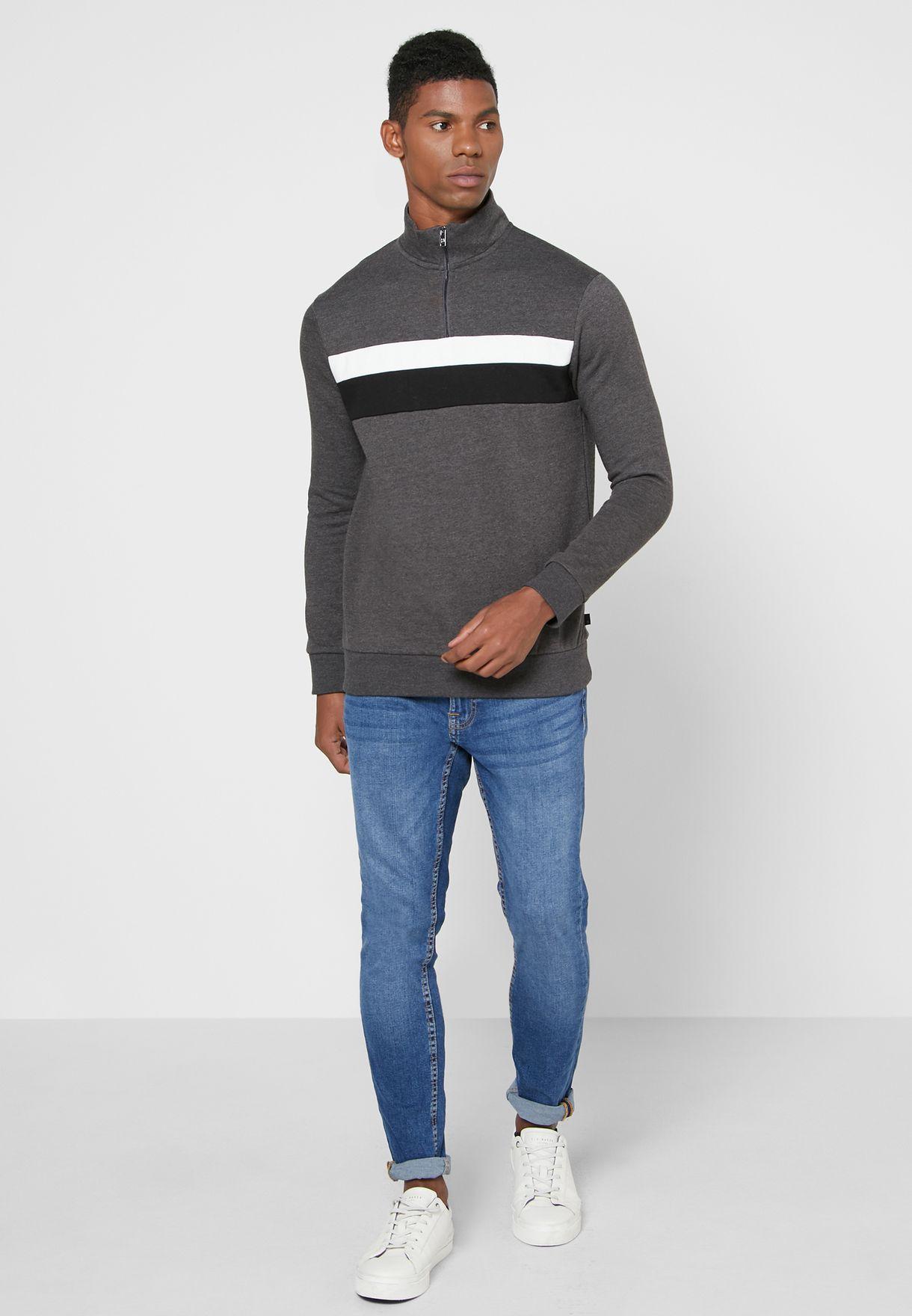 Chest Panel Half Zip Sweatshirt