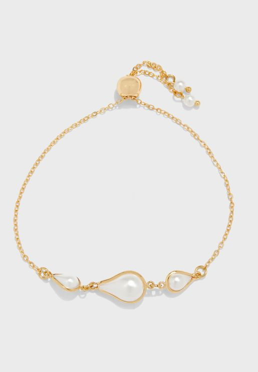 Teardrop Pearl Adjustable Bracelet