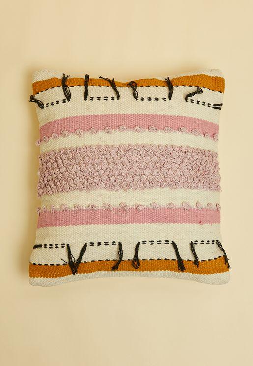 "Pink & Mustard Tassle Cushion- 16"" X 16"""