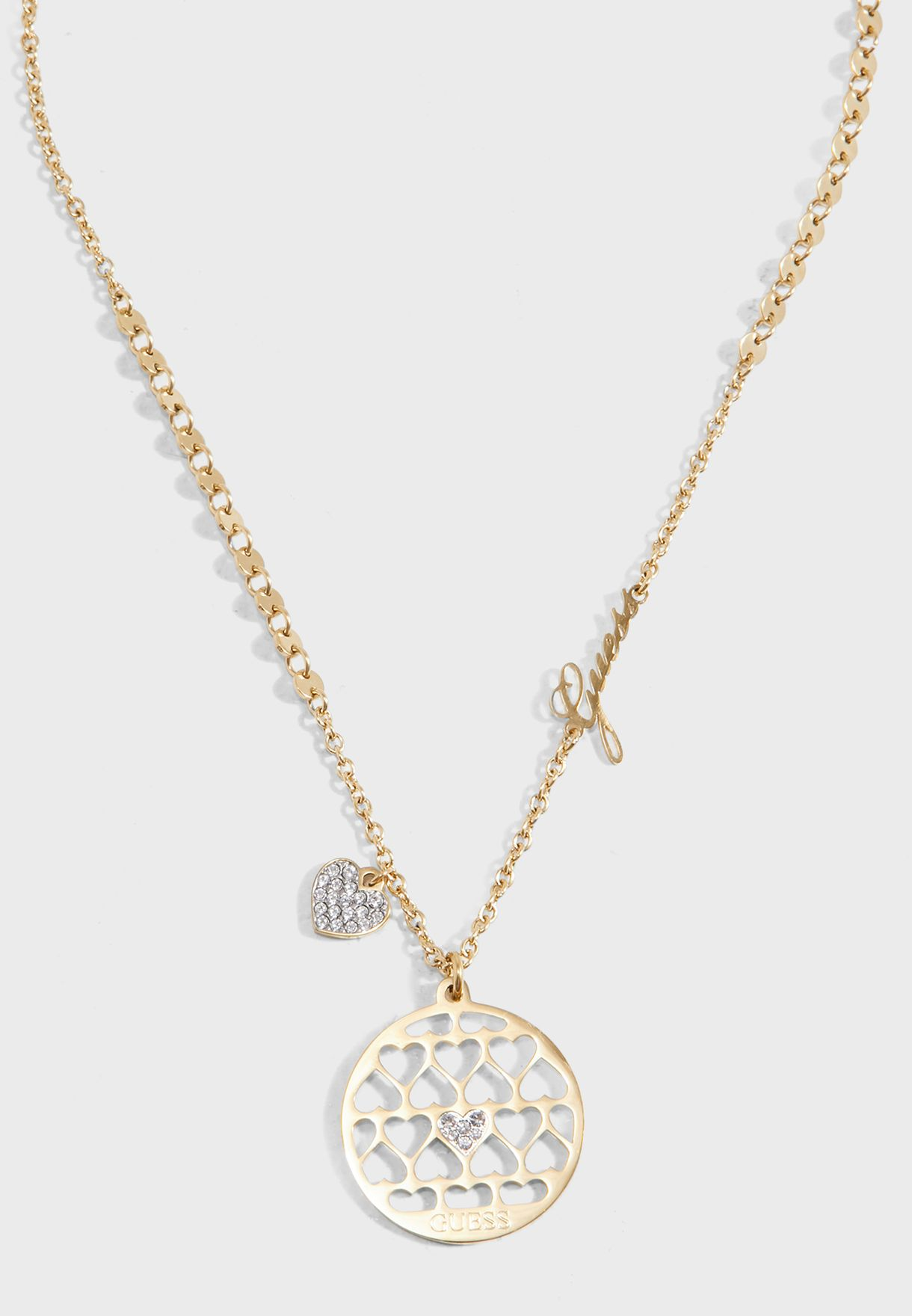 Hearts And Logo Pendant Necklace