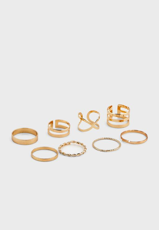8 Pack Mixed Rings