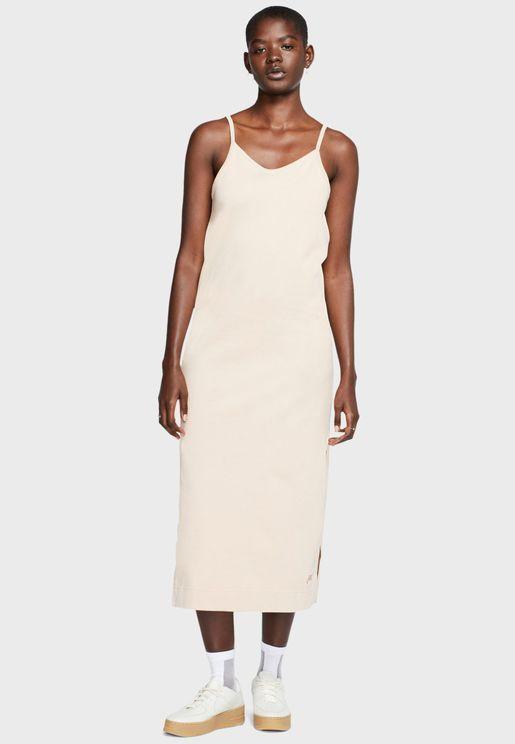 فستان جيرسي بحمالات كتف