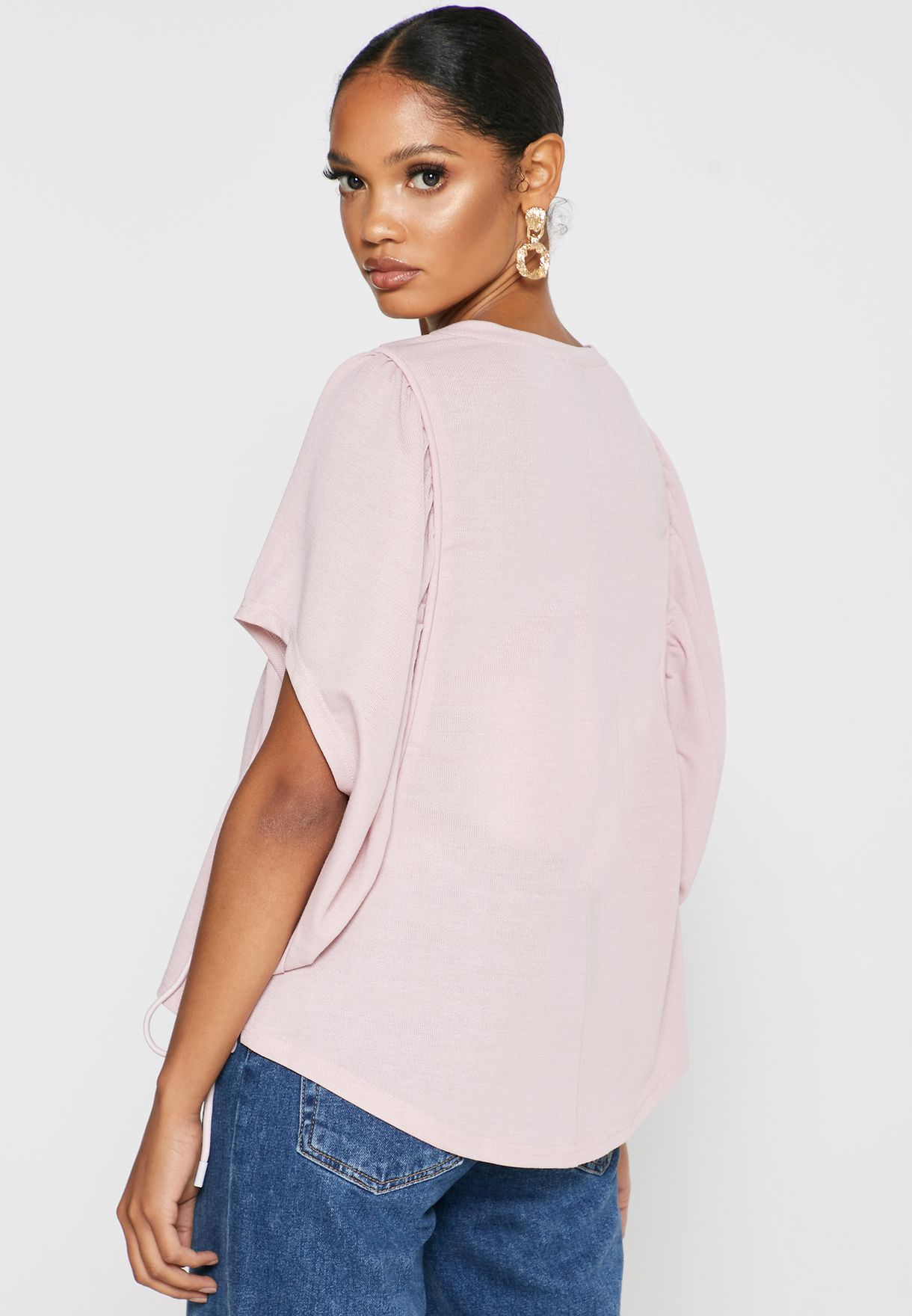 Crew Neck Batwing Top