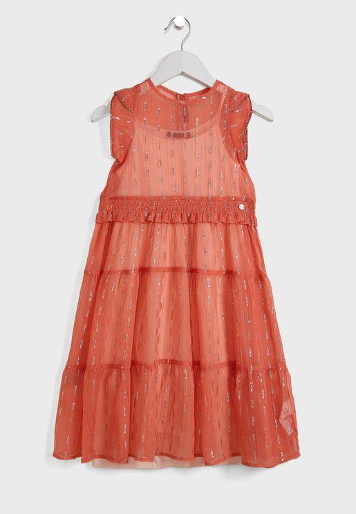 Kids Shirred Tulle Dress