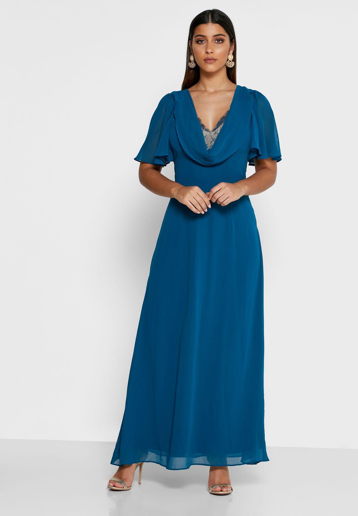Cowl Neck Wide Sleeve Dress