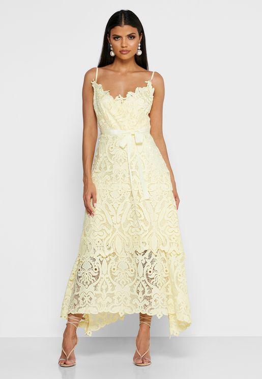 Tie Waist Cami Lace Dress