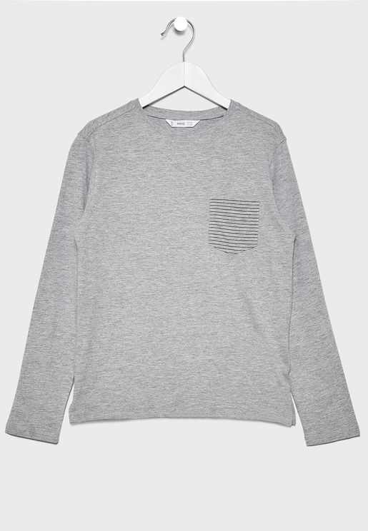 Kids Striped Pocket T-Shirt
