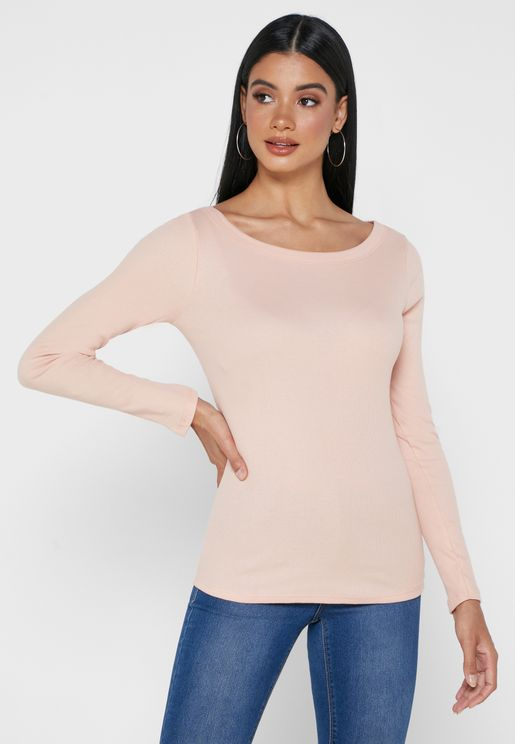 Boat Neck Ribbed Top
