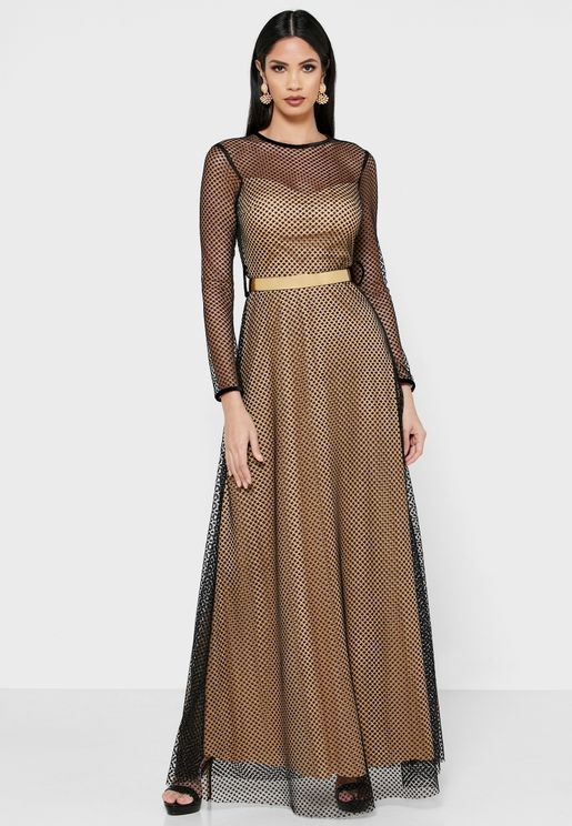 Net Overlay Belted Maxi Dress