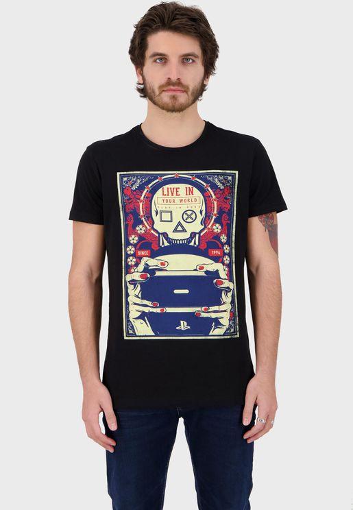 Playstation Gaming Skull Crew Neck T-Shirt