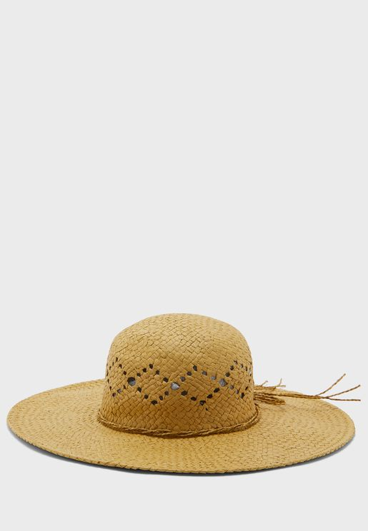 Bow And Patterned Wide Brim Straw Hat