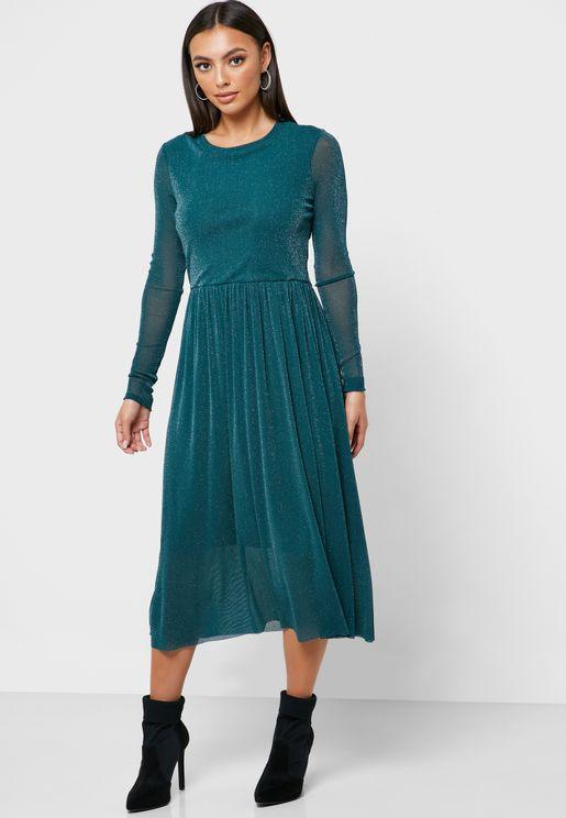 Sheer Sleeve Pleated Dress