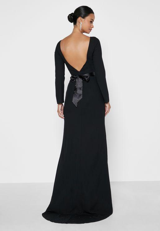 Deep Back Belted Dress