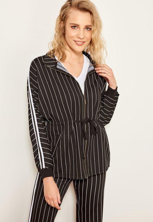 Striped Tie Waist Jacket