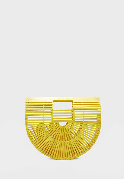 Bamboo Raffia Slatted Satchel Bag