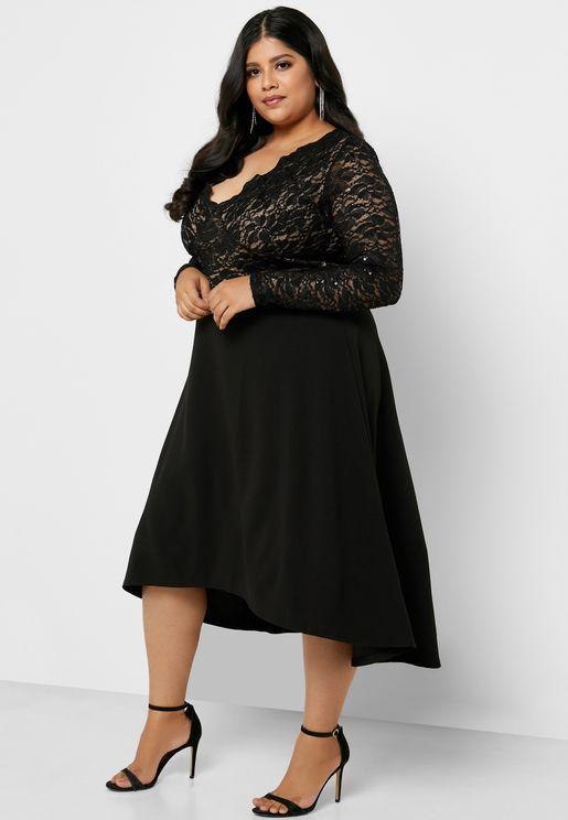 Lace Sheer Trim Scallop Dress