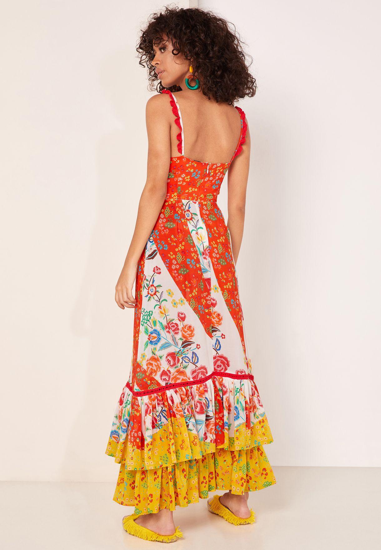 Alejandra Ruffle Hem Printed Dress