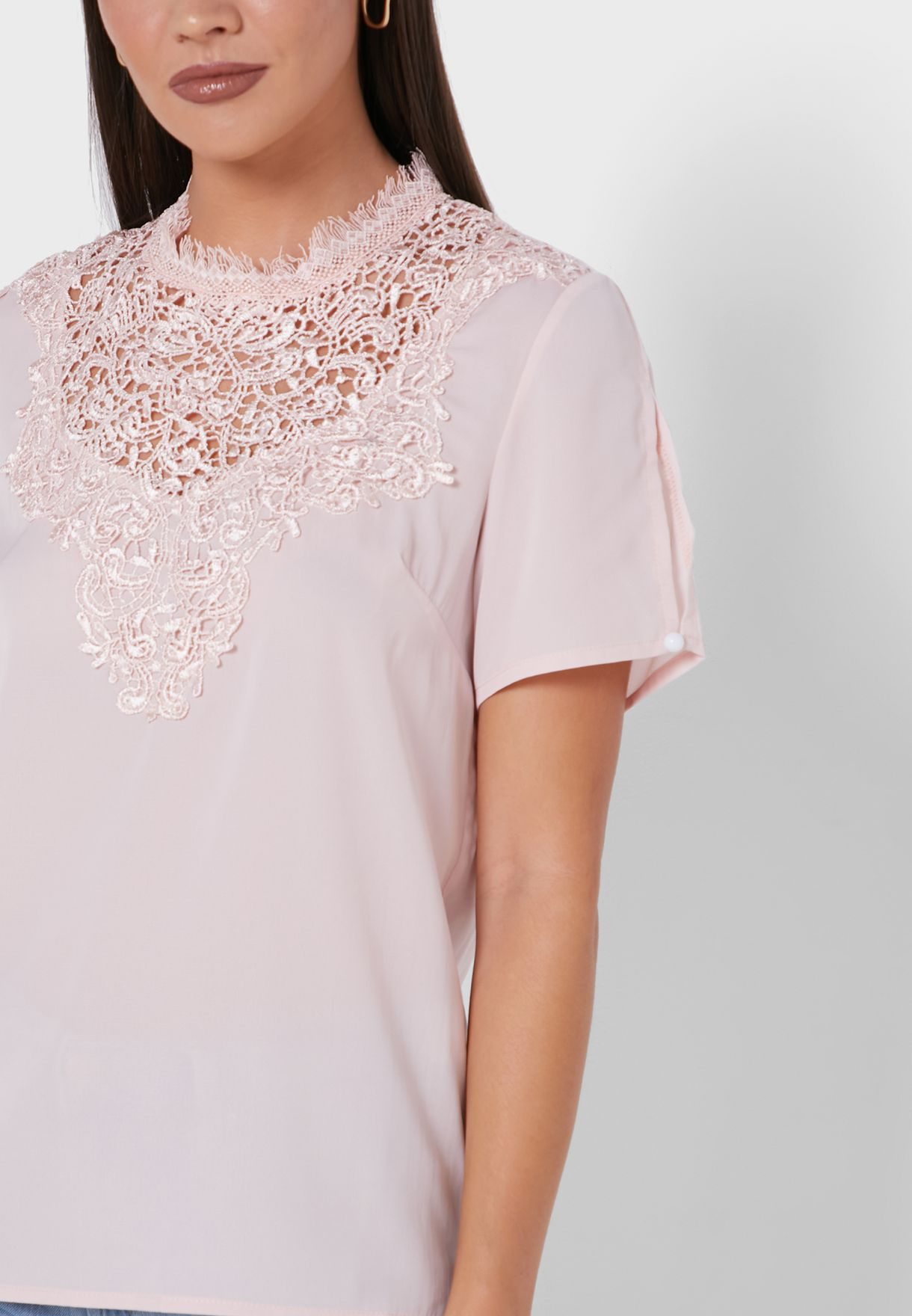 Lace Neck Embroidered Top