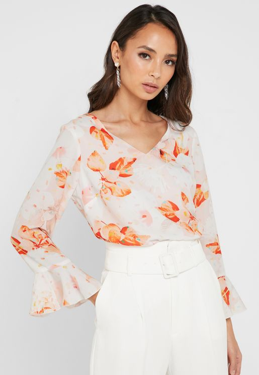 Floral Print Frill Detail Top