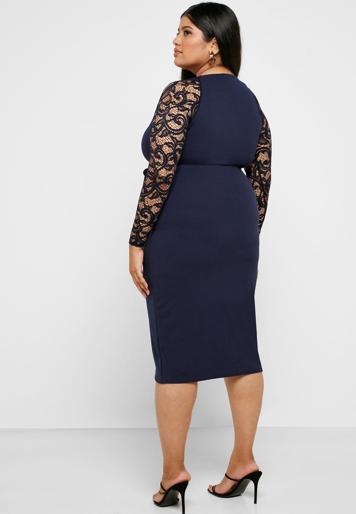 Tie Waist Lace Sleeve Wrap Dress