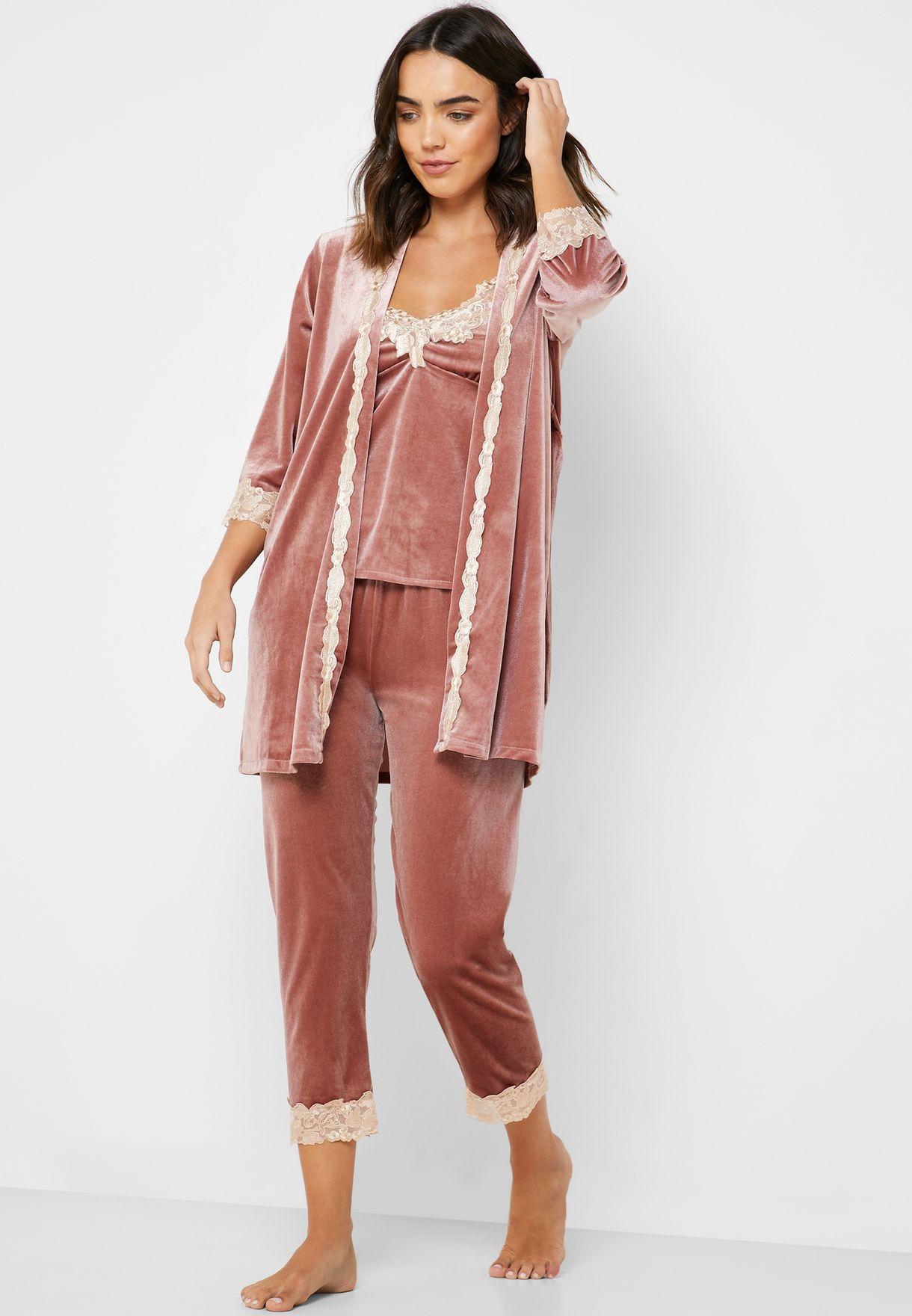 4 In 1 Velvet Nightdress Robe Pyjama Set