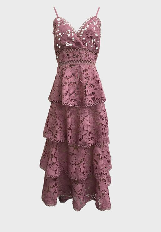 Openwork Tiered Lace Dress