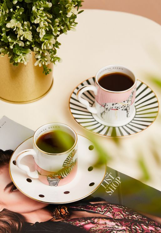 Set Of 2 Espresso Cup With Saucers