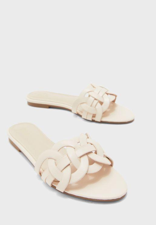 Loop Weave Flat Sandals