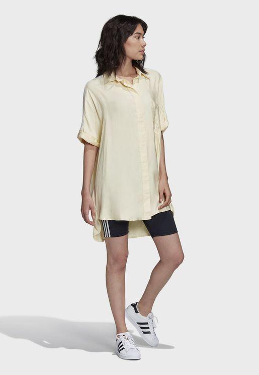 فستان ساتان بشعار الماركة