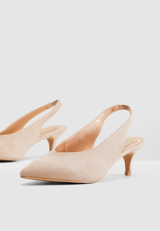 Slingback Court Shoe With Kitten Heel