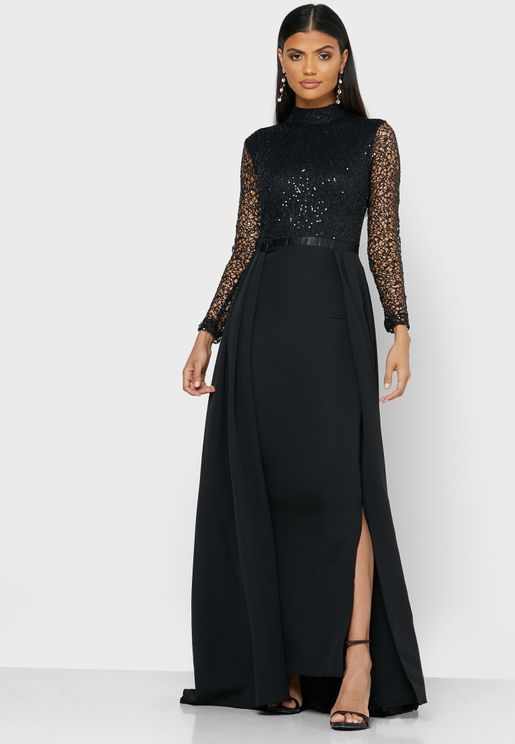 Lace Top Split Skirt Maxi Dress