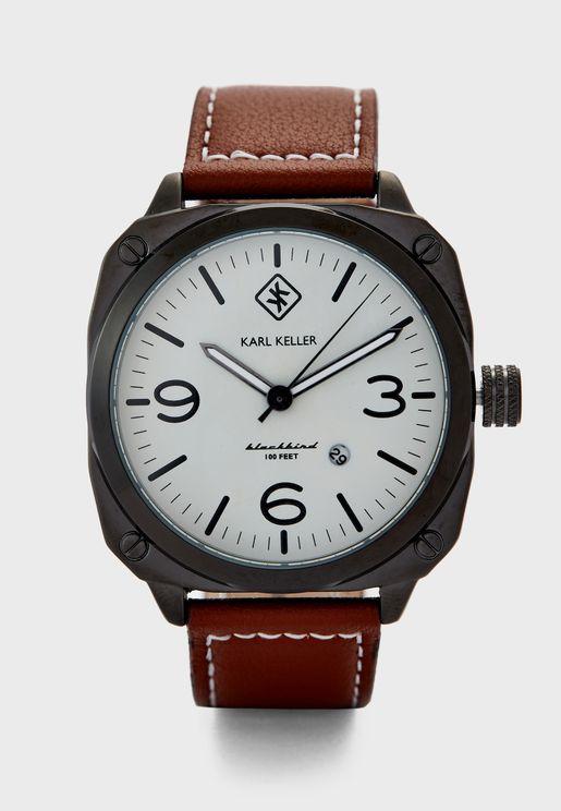 ساعة انالوج بحزام جلد اصلي